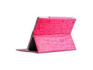 "For iPad Mini 2 / iPad Mini 7.9"" - Cartoon Textured Cute Smart Stand Leather Flip Folio Book Cover Case - PINK"