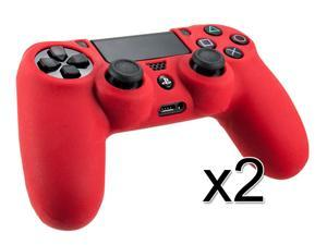 Pack of 2 - New Protective Skin Cover Silicone Gel Case For PS4 Playstation 4 Controller RED