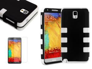 For Samsung Galaxy Note III 3 N9000 Colorful Black & White Triple-Layered Tuff Impact Hybrid Rugged Hard Case Cover + Screen ...