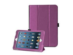 For Apple iPad Mini - Flip Folio Smart Stand PU Leather Skin Protective Case Cover PURPLE