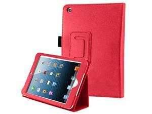 For Apple iPad Mini - Flip Folio Smart Stand PU Leather Skin Protective Case Cover RED