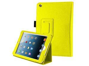 For Apple iPad Mini - Flip Folio Smart Stand PU Leather Skin Protective Case Cover YELLOW