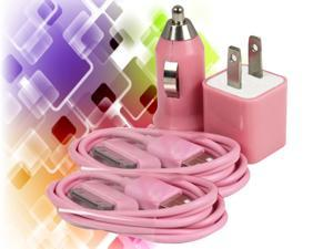 Premium USB Adapter Wall Charger +Car Charger + Data Cable for iPod® iPhone® 3G 4S 4G - PINK