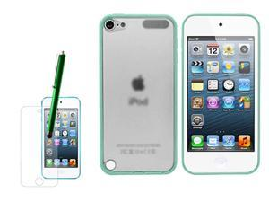 Apple iPod Accessory - Transparent TPU Bumper Cover Case + LCD Screen Protector + Touch Pen Stylus For Apple iPod Touch 5G ...