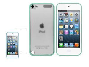 Green Clear Back Rubber Matte Hard Case Cover For iPod Touch 5G 5 G w/ Screen Guard