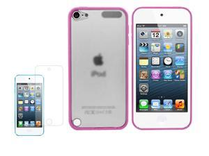 For iPod Touch 5 / 5G Clear Back Rubber Matte Hard Case Cover w/ Screen Protect
