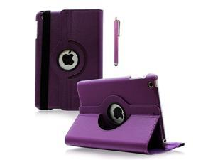 For Apple iPad Mini 360 Rotating Leather Case Smart Cover w/ Stand Sleep Wake - Purple