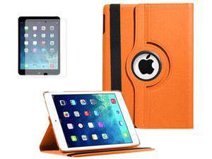 360 Degree Rotating PU Leather Case Cover Swivel Stand for Apple iPad Air 5 5th - New (Case + Screen)