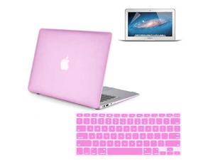 """3 in 1 Combo kit - Rubberized Hard Case Cover And Keyboard Cover With Screen Protector For Macbook Air 11"""" - Pink"""