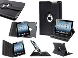 Black Smart Rotating Leather Stand Case Cover + LCD Film Protector For Apple iPad 2 / 3 / 4 Retina