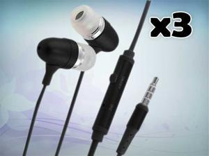 New 3.5mm Best Earphone Headset Headphone for iPhone Cellphone MP3 MP4 MP5 Black - In 3 Pack