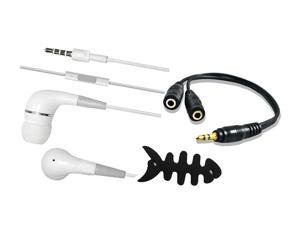 White Stereo Music Earphone Headset With Mic + Audio Splitter Cable + Fishbone For iPhone 5S iPad Air Tablets MP3 MP4