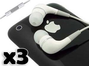 Brand New 3 Pack Headphone Earphone w/Mic & Remote Volume Control for Apple iPod iPhone 4 4G 4S 3G 3GS 5 5G 6th Gen / iPad ...