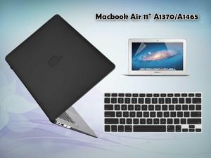 "3 in 1 Rubberized Protective Case Cover for MacBook Air® 11"" A1370 / A1465 + Silicone keyboard Skin w/ Screen Protector (Black)"