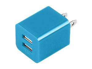 Mini USB AC Wall Charger Power Adapter Dual Port For Iphone 4/ 4S/ 3GS/ 3/ Ipod 4/ 5th- BLUE