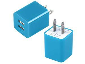 2A Wall Charger Adapter Dual USB Ports US Plug For iPhone 5 iPod Galaxy S3 S4 - Blue