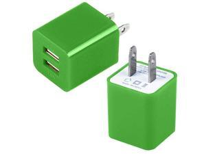Premium 2A 1A Wall Adapter AC Charger USB Dual Port Compatible With Apple iPhone 4 4S 5 5S 5G 5C - Green