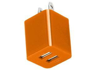 Premium 2A 1A Wall Adapter AC Charger USB Dual Port Compatible With Apple iPhone 4 4S 5 5S 5G 5C - Orange