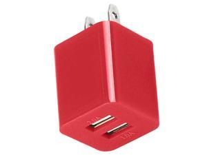 Premium 2A 1A Wall Adapter AC Charger USB Dual Port Compatible With Apple iPhone 4 4S 5 5S 5G 5C - Red