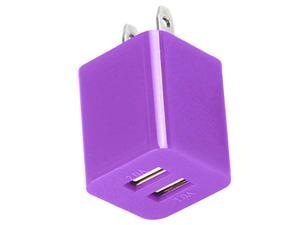 Dual Port Fast 2.1A 10W USB Home Wall Charger AC Adapter for Cellphones Smartphone Tablet Phablet PDAs PURPLE