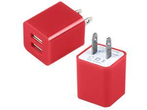 Dual Port Fast 2.1A 10W USB Home Wall Charger AC Adapter for Cellphones Smartphone Tablet Phablet PDAs RED