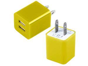 Dual Port Fast 2.1A 10W USB Home Wall Charger AC Adapter for Cellphones Smartphone Tablet Phablet PDAs YELLOW