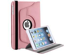 New 360 Rotating Folio Stand Leather Case Cover For iPad Mini - Pink Color