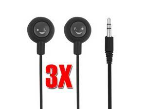 Premium 3pcs Pack Colorful 3.5mm Stereo In Ear Earphones Headphones Earbuds for iPod iPhone MP3 PSP DS 3DS - Colors Available