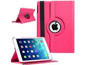 Auto Sleep/Wake Function 360 Degree Rotating Smart Case Cover For 9.7 inch iPad Air 5th Generation - Hot Pink