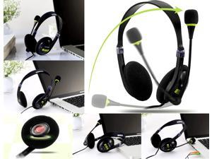 Ovann OV-T401MV Black & Green Computer PC Laptop Headphone Headset With Microphone Mic For Skype Msn Gtalk - [New]