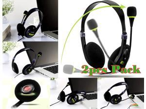 SmackTom Set Of 2 Computer PC Laptop Desktop Gaming MP3 Headphone Headset Ovann OV-T401MV Microphone Mic (Black/Green)