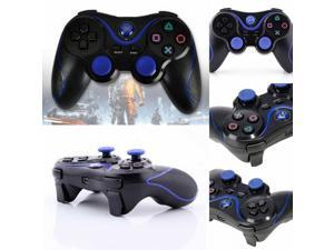 New Wireless Cordless Doubleshock 3 Bluetooth Game Pad Game Controller for Playstation 3 PS3 - in Black with Blue Color
