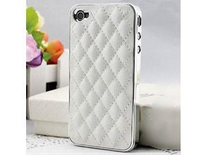 Premium White Deluxe Plastic Chrome Leather Case Cover for Apple® AT&T Sprint Verizon iPhone® 4S 4 4G New