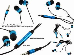 [2Pcs Pack] 3.5mm Jack Headset Headphone Earphone With Mic for HTC One HD7 Desire Wildfire Evo 4G Blue