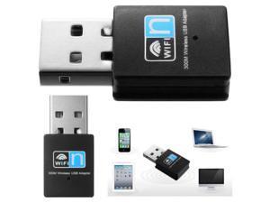 Premium 300Mbps Mini USB WiFi Wireless LAN Network Card Adapter 802.11n/b/g for Desktop Laptop - Black (Retail Package)