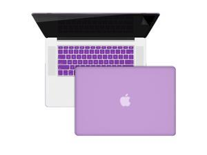 "3 in 1 Macbook Pro® 15"" Retina® display A1398 Purple Rubberized hard plastic case + keyboard cover + Anti Glare Screen Protector"