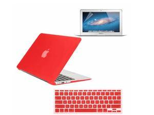 """3 in 1 Combo kit - Rubberized Hard Case Cover And Keyboard Cover With Screen Protector For Macbook Air 11"""" - Red"""