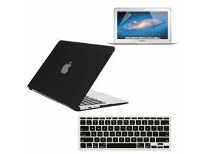 """3 in 1 Hard Shell Rubber Coated Case Cover + Silicone Keyboard Cover + Screen Protector For Apple Macbook Air 11"""" - Black"""