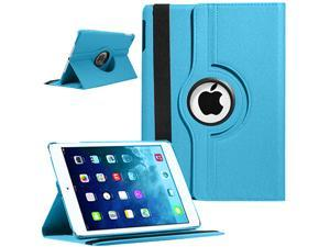 360 Degree Rotating Stand Case with Smart Cover Auto Sleep / Wake Feature for Apple iPad Air 5 - Sky Blue