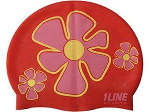1Line Sports Flower Trio Silicone Swim Cap Red