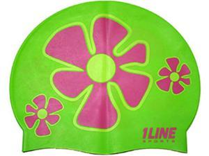 1Line Sports Flower Trio Silicone Swim Cap Green