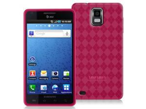 Samsung Infuse 4G i997 Hot Pink TPU Gummy Case with Checker Design