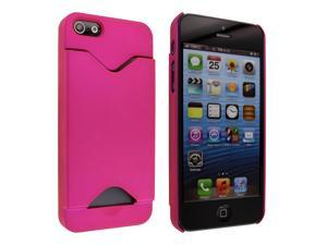iPhone 5 Hot Pink Rubberized Back Cover Case with Credit Card Holder