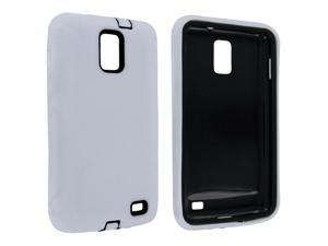 Samsung Galaxy S2 Skyrocket i727 White Silicone Hybrid Case with Black Hard Inner Case