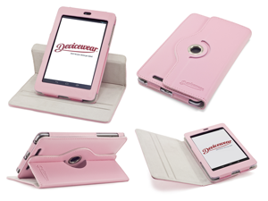 Devicewear Rotating Google Nexus 7 Case First Generation/2012 with Multi-angle Stand, Smart On/Off switch, Pink vegan leather