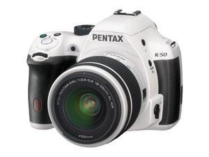 PENTAX K-50 (10939) White Digital SLR Camera with 18-55mm Lens