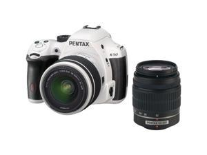 PENTAX K-50 (10950) White Digital SLR Camera with 18-55mm f/3.5-5.6 and 50-200mm f/4-5.6 Lenses