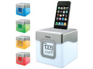 Ihome Ip18W Led Color-Changing Dual Alarm Clock Speaker System compatible with iPhone/iPod