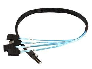0.5m 30AWG Internal Mini SAS 36pin (SFF-8087) Male w/ Latch to SATA 7pin Female (x4) Forward Breakout Cable - Black