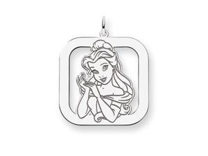 Disney's Belle Square Charm in Sterling Silver